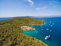 Aerial view of boats in bay Royalty Free Stock Images