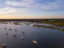 Aerial view of boats in Beaufort, South Carolina royalty free stock image