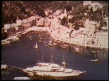 Aerial view of boats in California harbor stock video footage