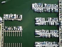 Aerial view of boats in the harbor in Huntington Beach California. Orange County, Southern California Stock Images
