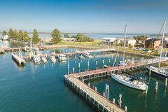 Aerial view of boats in the harbour, Port Albert Stock Images
