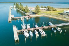Aerial view of boats in the harbour, Port Albert royalty free stock photo