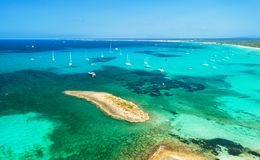 Aerial view of boats, luxury yachts and transparent sea Royalty Free Stock Photos