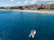 Aerial view of boats moored in Melito di Porto Salvo, Calabria. Italy Royalty Free Stock Photos