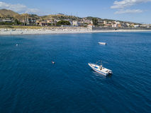 Aerial view of boats moored in Melito di Porto Salvo, Calabria. Italy Royalty Free Stock Photography