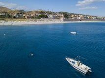 Aerial view of boats moored in Melito di Porto Salvo, Calabria. Italy Stock Photo