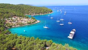 Aerial view of boats moored in Adriatic sea. stock video footage