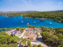 Aerial view of boats in bay Royalty Free Stock Photos