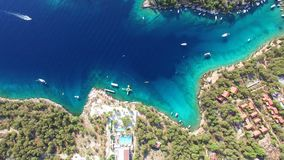 Aerial view of boats moored in Adriatic sea. stock footage