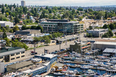 Aerial view of boats moored on Lake Union Seattle Washington Stock Photography