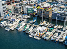 Aerial view of boats moored on Lake Union Seattle Washington Royalty Free Stock Photography