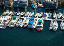 Aerial view of boats moored on Lake Union Seattle Washington Stock Images