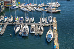 Aerial view of boats moored on Lake Union Seattle Washington Royalty Free Stock Photo