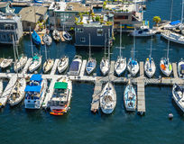 Aerial view of boats moored on Lake Union Seattle Washington Royalty Free Stock Photos