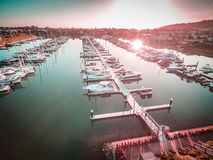 Aerial view of boats moored at Safety Beach Marina at sunset. Me. Lbourne, Victoria, Australia Royalty Free Stock Images