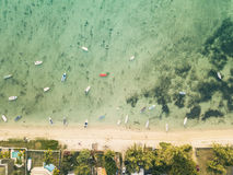 Aerial view of boats near beach line royalty free stock images