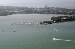 Aerial view of boats outside Takapuna in Auckland NZ Royalty Free Stock Image