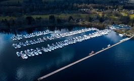 Aerial view of boats parked at dock in Lomond Royalty Free Stock Photography