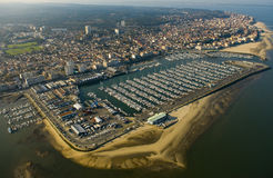 Aerial view, Boats parked in the Port of Arcachon, Aquitaine Royalty Free Stock Photography