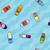 Aerial view of boats, seamless pattern stock illustration