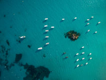Aerial view of boats in a splendid cove Stock Images