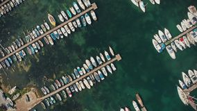 Aerial view of boats. Top view of yachts from flying drone stock video