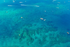 Aerial view of boats in the tropical sea Royalty Free Stock Photos