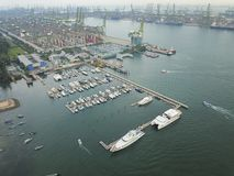 Aerial view of Boats at West Coast Park, Singapore Stock Image