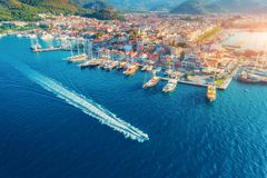 Aerial view of boats, yahts, floating ship and architecture. Aerial view of boats, yahts, floating ship and beautiful architecture at sunset in Marmaris, Turkey Stock Photography
