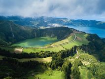 Aerial view of Boca do Inferno - lakes in Sete Cidades volcanic craters on San Miguel island, Azores. Aerial view of Boca do Inferno - lakes in Sete Cidades stock photo