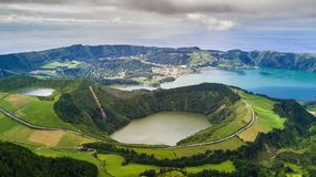 Aerial view of Boca do Inferno lakes in Sete Cidades volcanic craters on San Miguel island, Azores, Portugal
