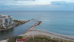 Aerial view of Boca Raton oceanfront at sunset, Florida.  stock images