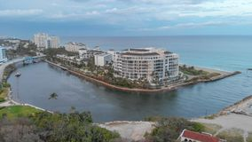 Aerial view of Boca Raton oceanfront at sunset, Florida.  royalty free stock photos