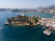 Aerial view of Bodrum Castle, Turkey Royalty Free Stock Images