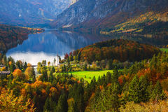 Aerial view of Bohinj lake in Julian Alps, Slovenia Royalty Free Stock Images