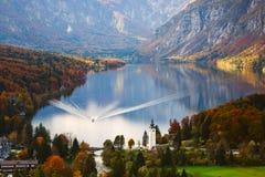 Aerial view of Bohinj lake in Julian Alps, Slovenia Royalty Free Stock Image