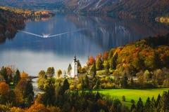 Aerial view of Bohinj lake in Julian Alps, Slovenia Stock Images