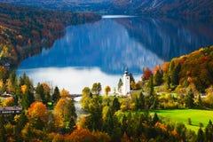 Aerial view of Bohinj lake in Julian Alps, Slovenia Stock Photos