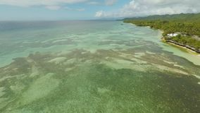 Aerial view of Bohol coast Island with boats. Aerial. Philippines. Aerial view of Bohol coast Island with boats. Aerial. Philippines stock video footage