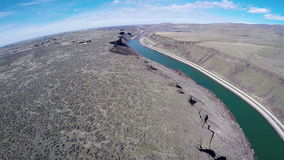 Aerial view of the Boise River and desert stock footage