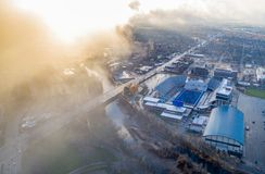 Aerial view of the Boise State football stadium with river and c Royalty Free Stock Image