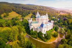 Aerial view of Bojnice Castle stock photography