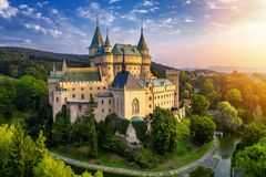 Aerial view of Bojnice medieval castle, UNESCO heritage in Slovakia. Romantic castle with gothic and Renaissance elements built in