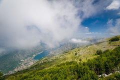 Aerial view on Boka Kotor bay from the Lovcen Stock Photos
