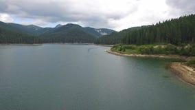 Aerial view of Bolboci lake, Romania stock video