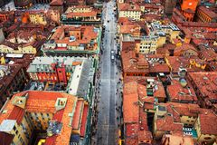 Aerial view of Bologna, Italy in the evening Stock Images