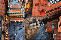 Aerial view of Bologna, Italy with one tower. Bologna, Italy. Aerial view of Bologna, Italy with one tower. City life in the historical city center with people Stock Photos
