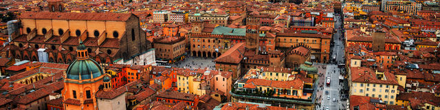 Aerial view of Bologna, Italy at sunset Stock Image