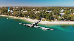 Aerial view of Bongaree Jetty on Bribie Island, Australia stock video