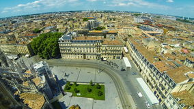 Aerial view of Bordeaux old town, France stock video footage